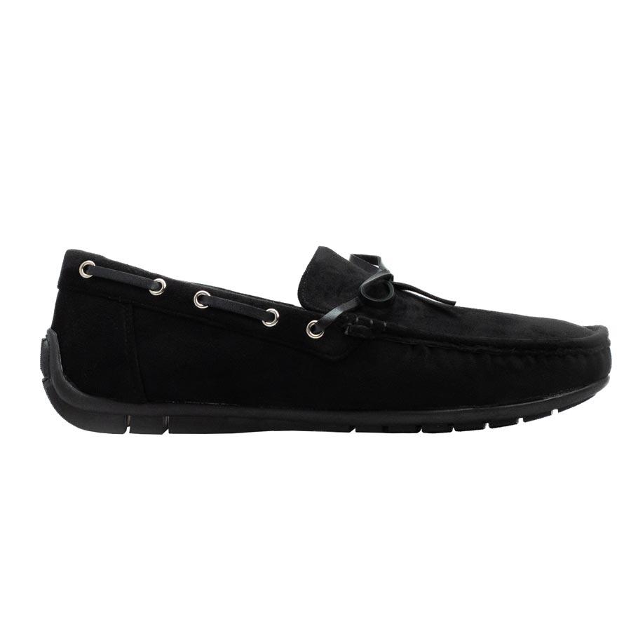 Ανδρικά loafers με διακοσμητικά κορδόνια Μαύρο