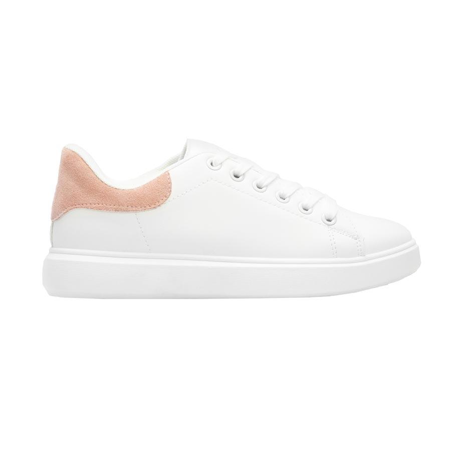 Γυναικεία sneakers μονόχρωμα Λευκό/Ροζ