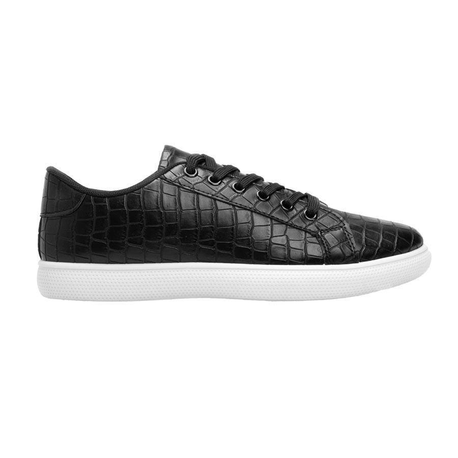 Ανδρικά sneakers μονόχρωμα με κροκό Μαύρο/Λευκό