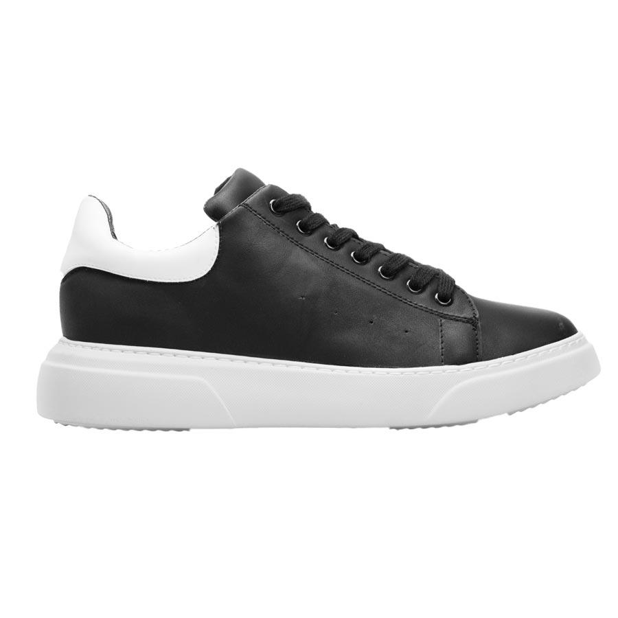 Ανδρικά sneakers μονόχρωμα με λεπτομέρεια Μαύρο/Λευκό