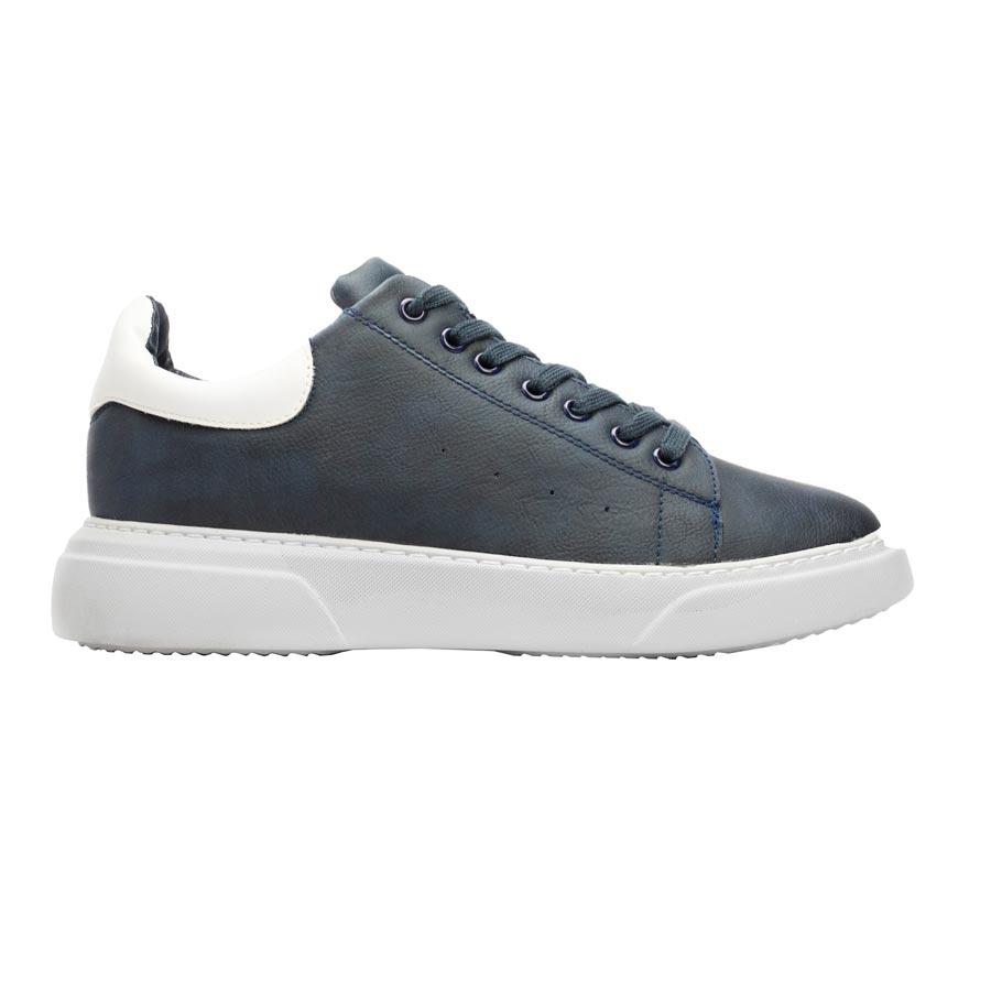 Ανδρικά sneakers μονόχρωμα με λεπτομέρεια Μπλε/Λευκό