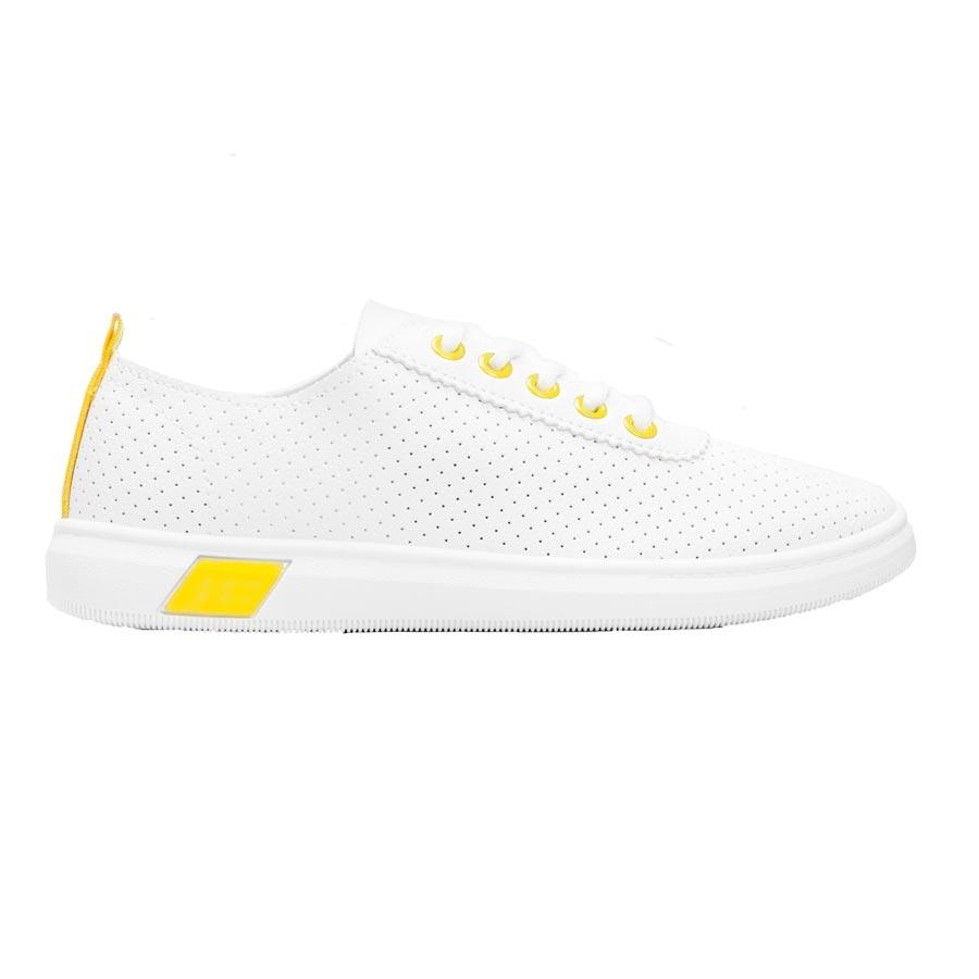 Γυναικεία sneakers με δίχρωμο σχέδιο Λευκό/Κίτρινο