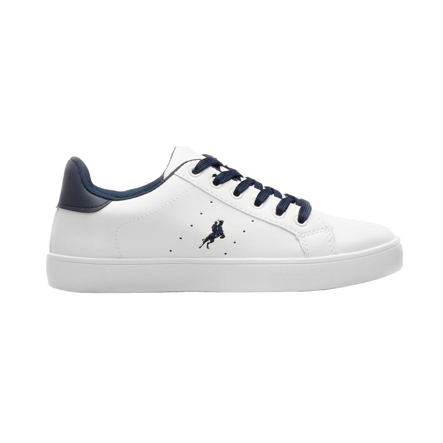 Γυναικεία sneakers μονόχρωμα με λεπτομέρεια Λευκό/Μπλε