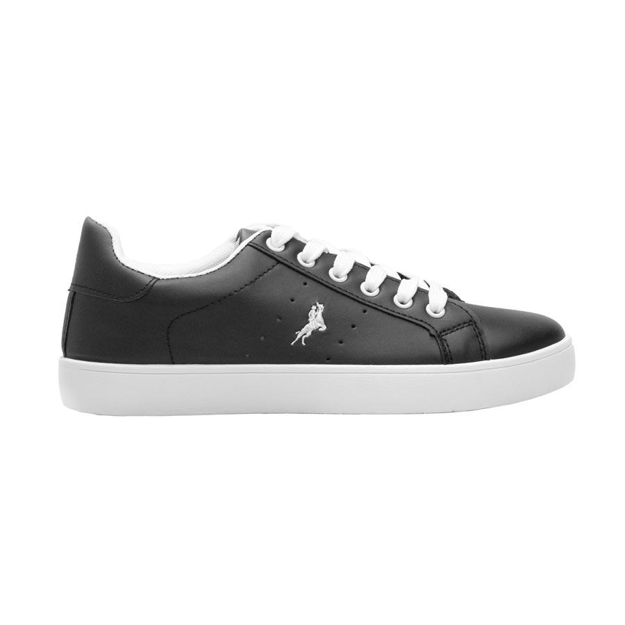 Γυναικεία sneakers μονόχρωμα με λεπτομέρεια Μαύρο/Λευκό
