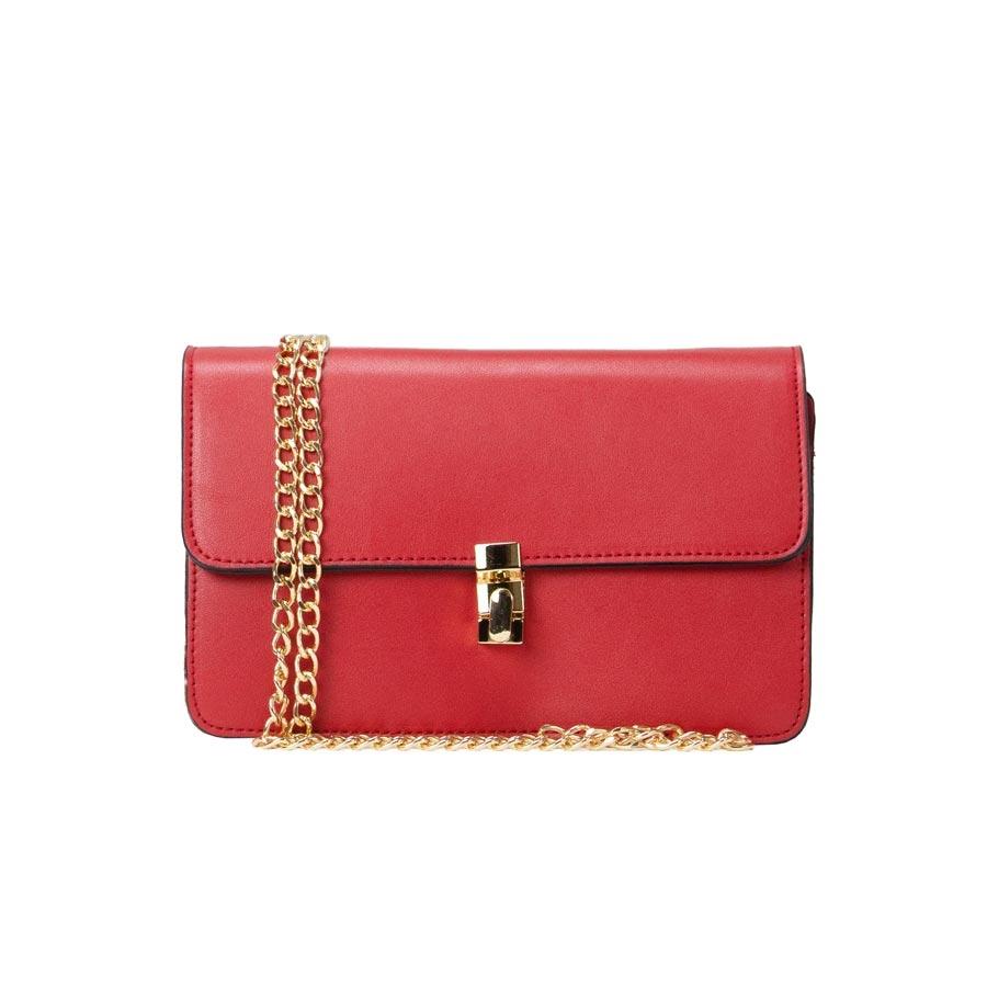 Γυναικεία τσάντα ώμου μονόχρωμη Κόκκινο
