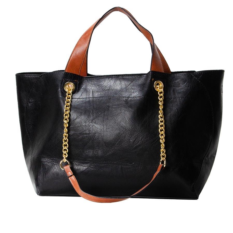 Γυναικεία τσάντα ώμου μονόχρωμη Μαύρο