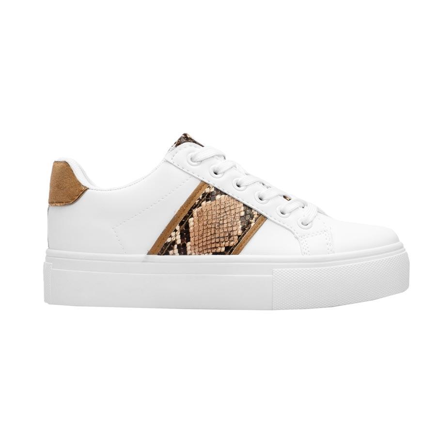 Γυναικεία sneakers μονόχρωμα με κροκό λεπτομέρεια Λευκό/Πούρο