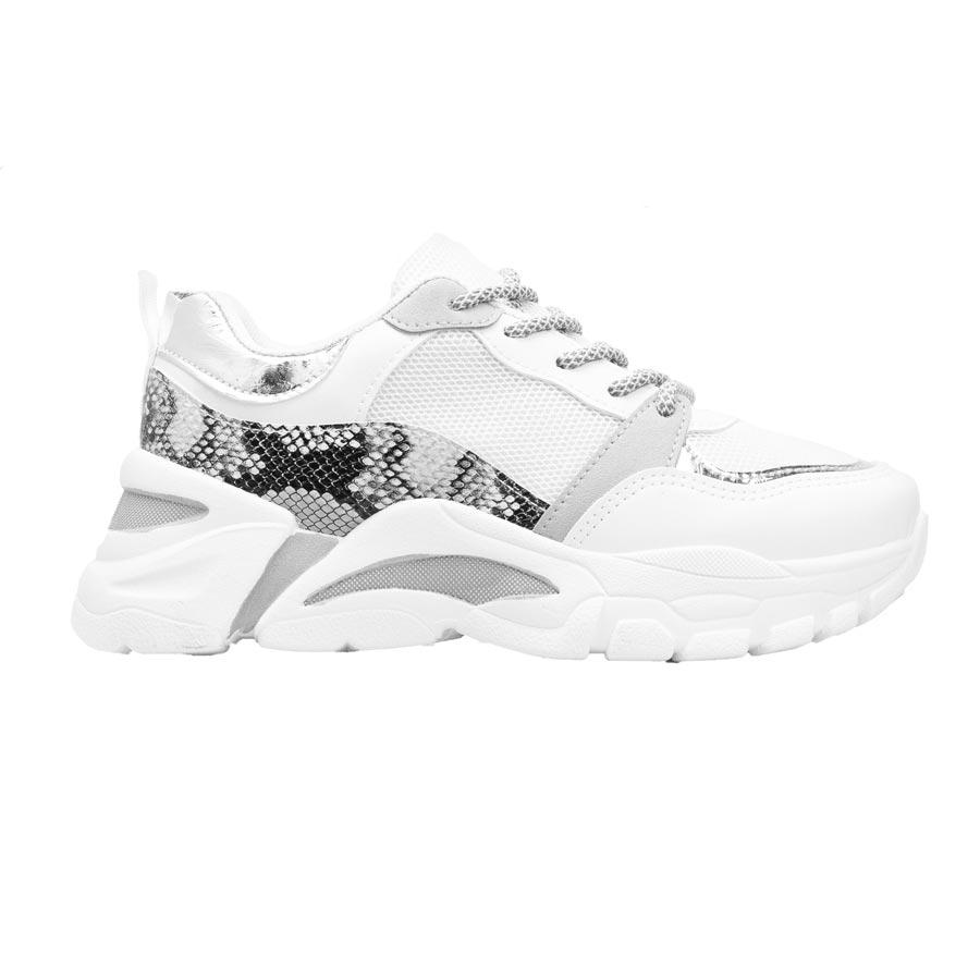 Γυναικεία sneakers με κροκό λεπτομέρειες Λευκό
