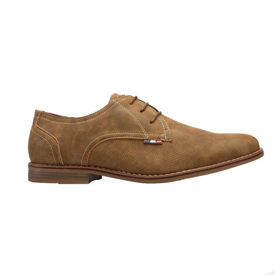 Ανδρικά loafers με ανάγλυφη λεπτομέρεια Κάμελ