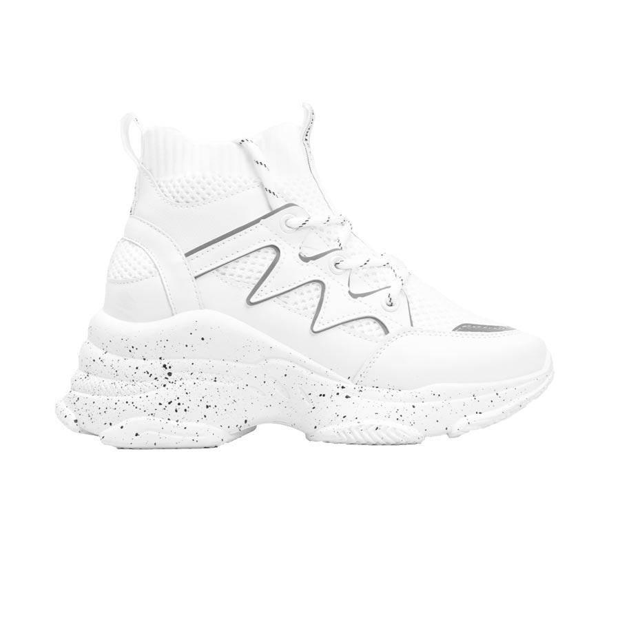 Γυναικεία sneakers ελαστικά με ανάγλυφα σχέδια Λευκό