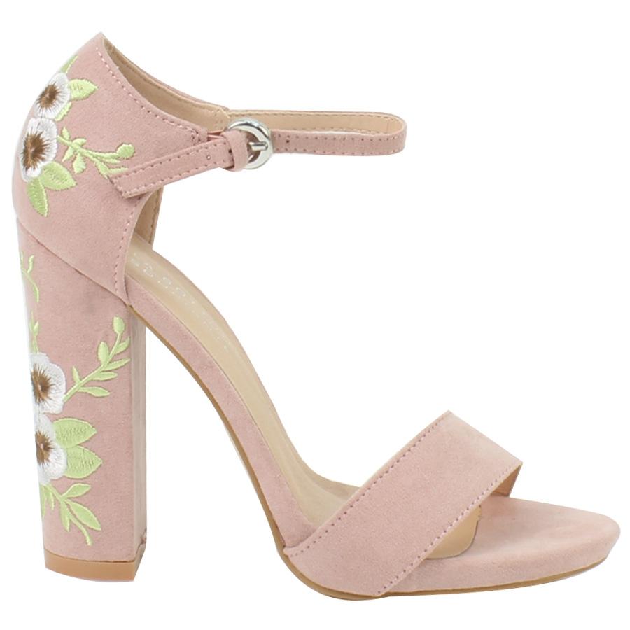 529ea1106b1 Inshoes.gr. Γυναικεία πέδιλα με κεντητά λουλούδια στο τακούνι ...