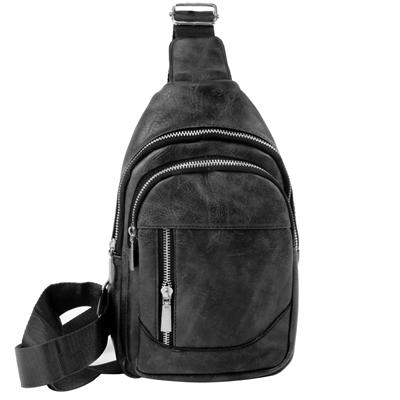 Ανδρικές τσάντες με οβάλ σχέδιο και κάθετο φερμουάρ Μαύρο μαύρο