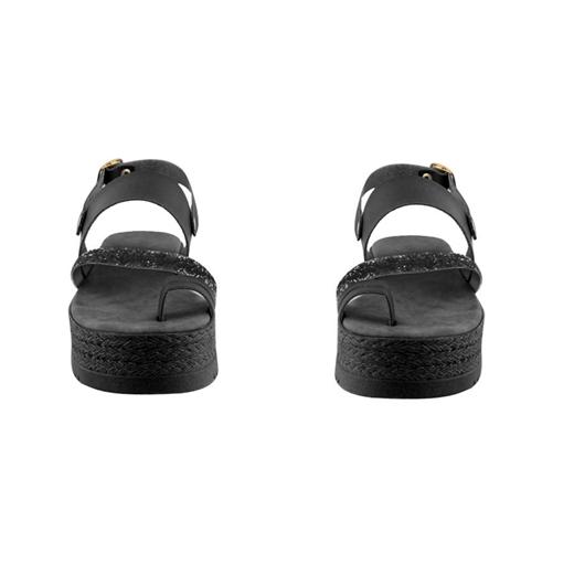 Εικόνα της Γυναικεία δερμάτινα σανδάλια με λεπτομέρεια με strass Μαύρο