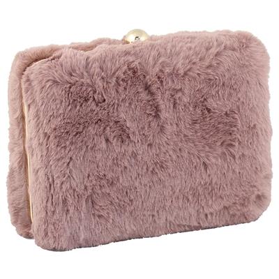 Φάκελοι clutch γούνινοι μονόχρωμοι Ροζ ροζ