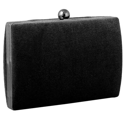 Φάκελοι clutch βελούδινοι με ασημένια αλυσίδα Μαύρο μαύρο