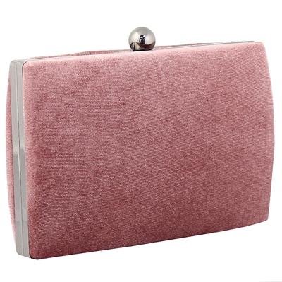 Φάκελοι clutch βελούδινοι με ασημένια αλυσίδα Ροζ ροζ