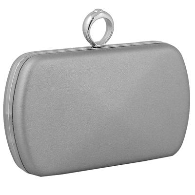Φάκελοι clutch με κυκλικό μεταλλικό κούμπωμα Ασημί ασημί