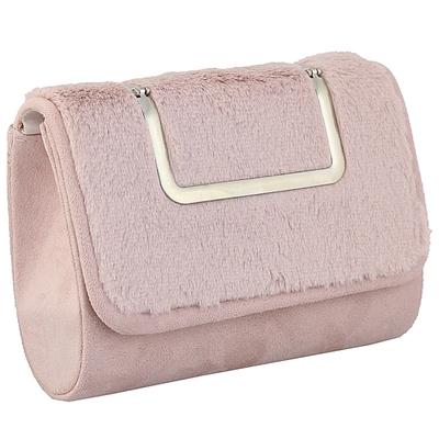 Φάκελοι βελούδινοι με μεταλλική λαβή και αλυσίδα Ροζ ροζ