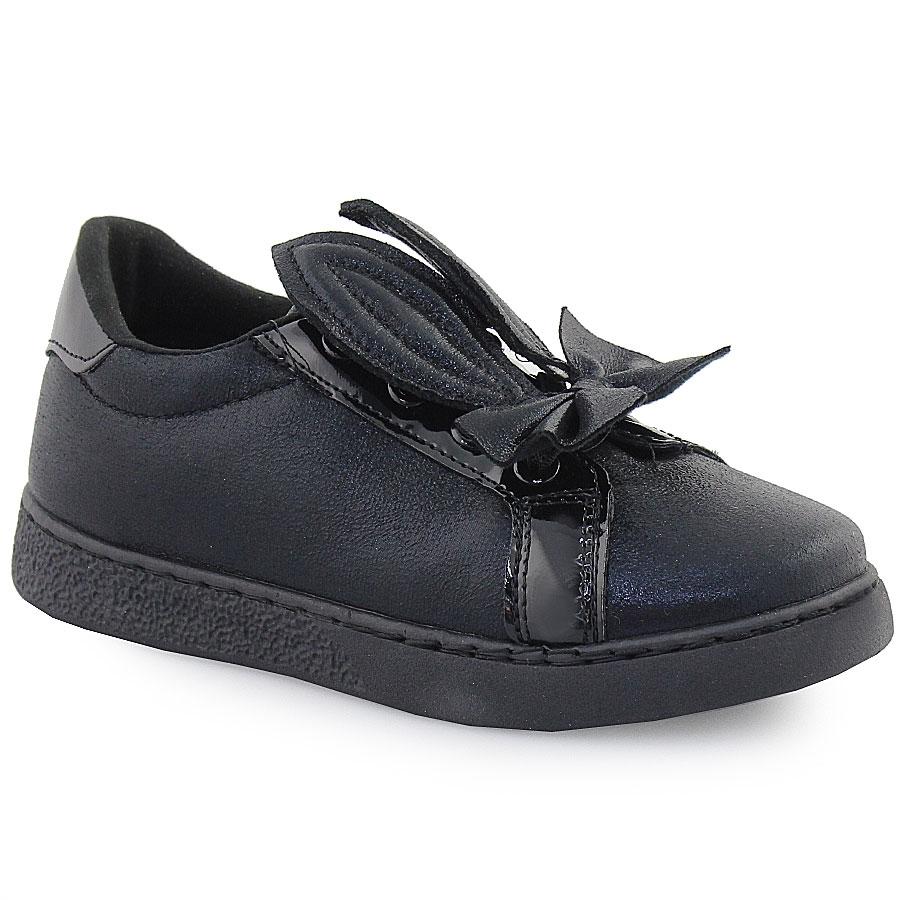 Εικόνα από Παιδικά casual μεταλιζέ με διακοσμητικό φιόγκο και αυτάκια Μαύρο