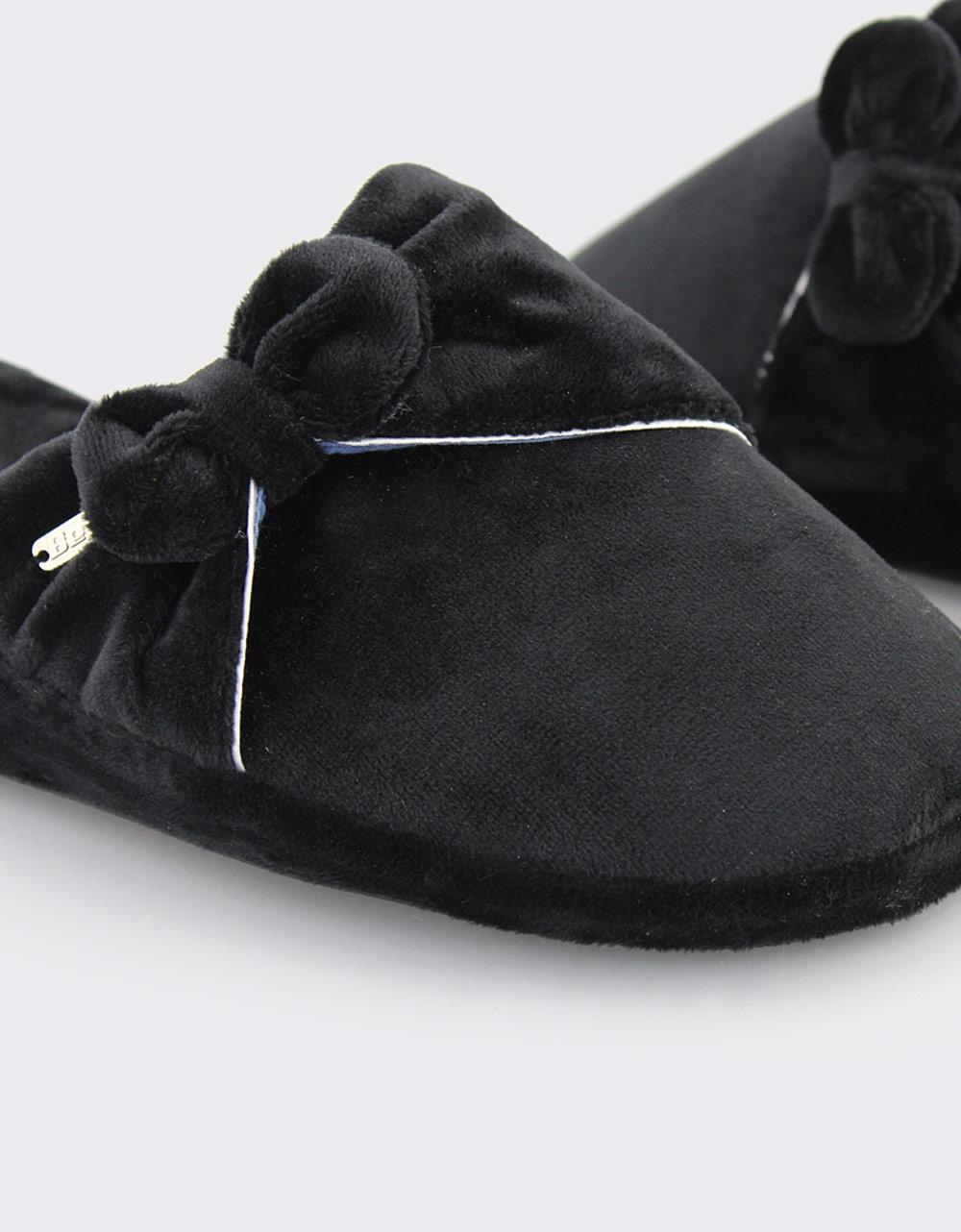 Εικόνα από Γυναικείες παντόφλες βελούδινες με φιόγκο Μαύρο