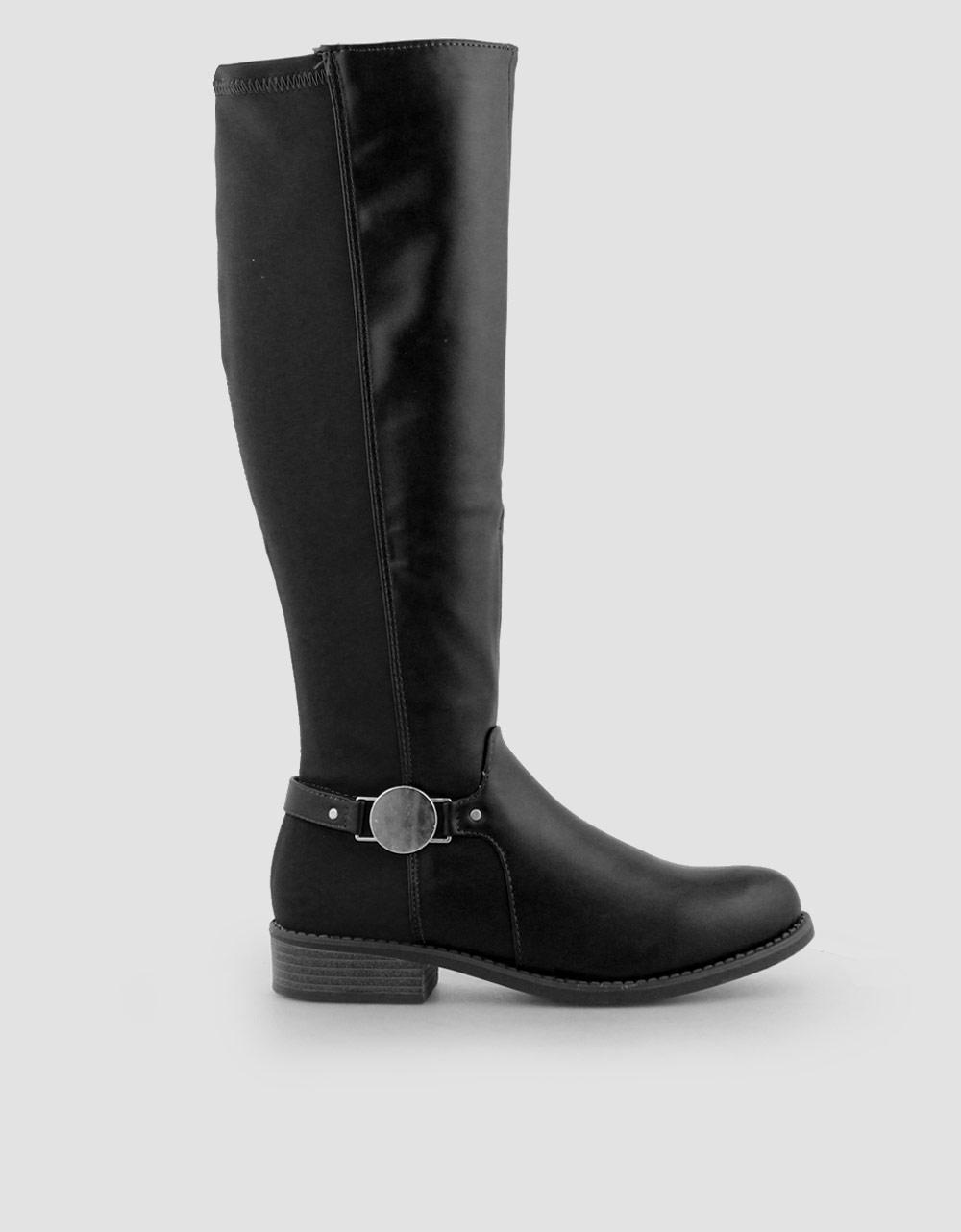 Εικόνα από Γυναικείες μπότες με στρογγυλό διακοσμητικό Μαύρο