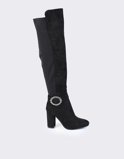 c6373dde60c Εικόνα της Γυναικείες μπότες με στρογγυλή αγκράφα Μαύρο