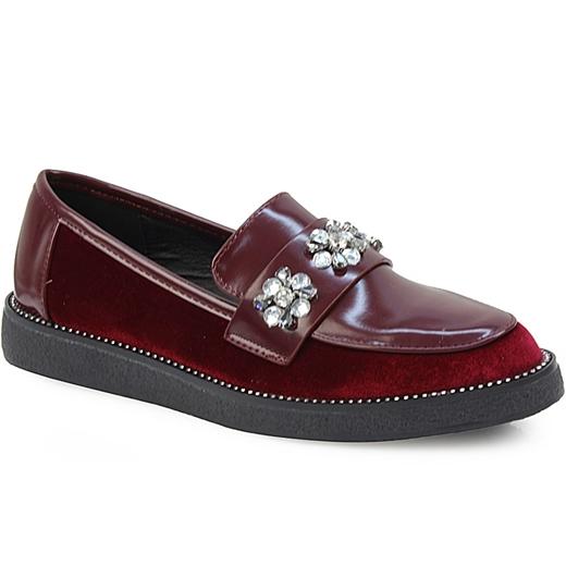 Εικόνα της Γυναικεία loafers με strass Μπορντώ 55f4332ff73