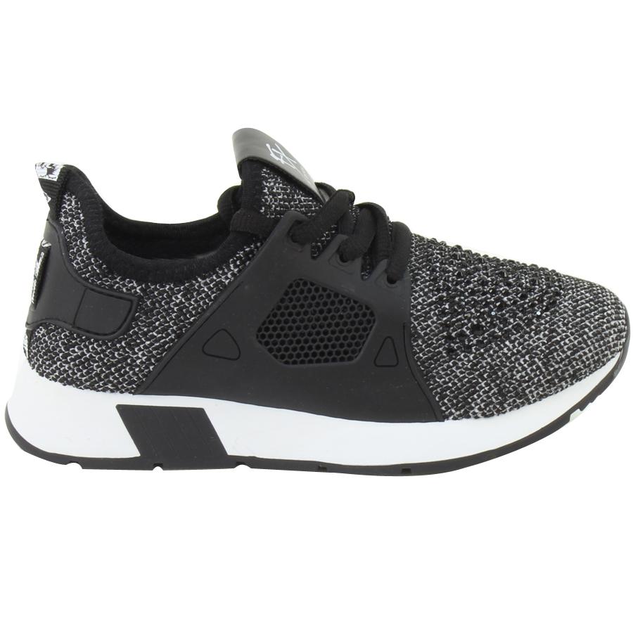 Εικόνα από Παιδικά sneakers με πλεκτό ύφασμα και strass Μαύρο