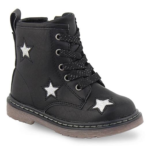 Εικόνα της Παιδικά μποτάκια με διακοσμητικά αστέρια με glitter Μαύρο