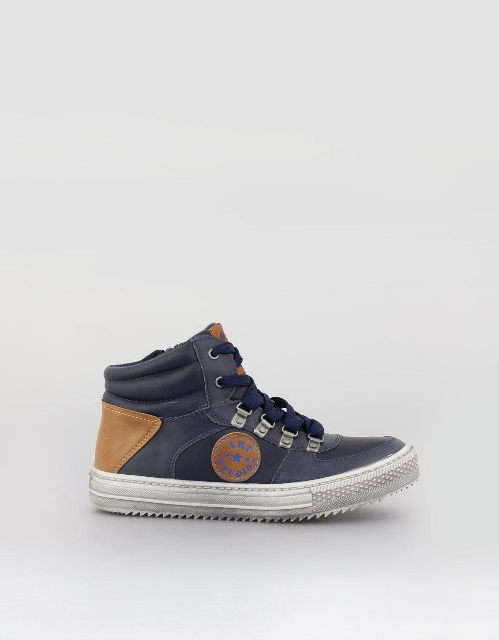 Εικόνα από Παιδικά sneakers με δίχρωμο σχέδιο και τύπωμα Μπλε