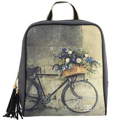 Σακίδια πλάτης με print ποδήλατο με λουλούδια Γκρι γκρι