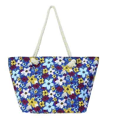 Τσάντες θαλάσσης με πολύχρωμα λουλούδια Μπλε μπλε