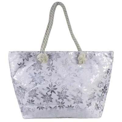 Τσάντες θαλάσσης με διακοσμητικά φύλλα Λευκό λευκό