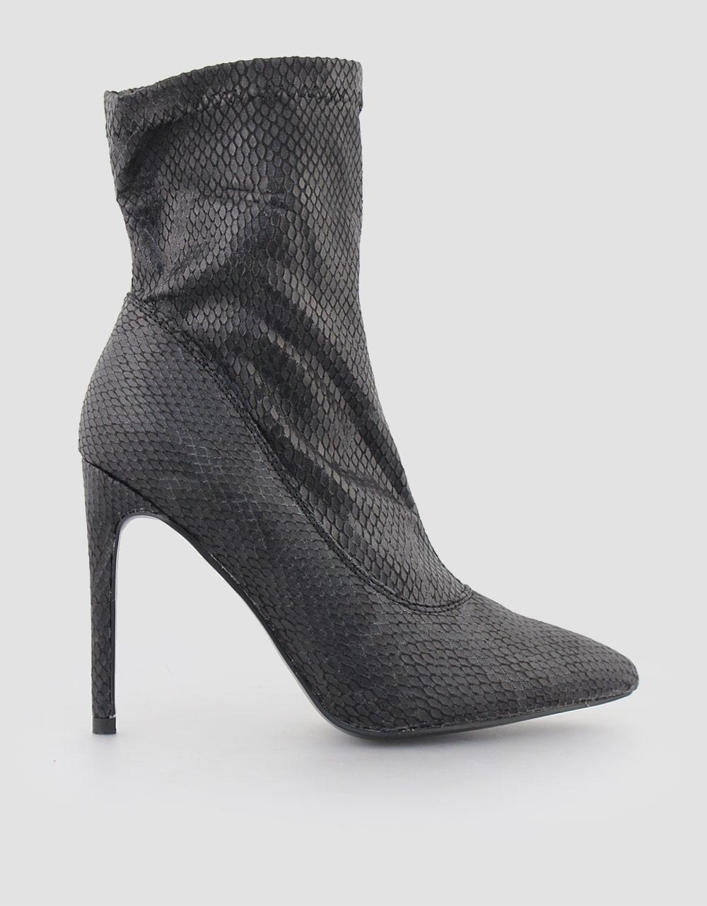 Εικόνα από Γυναικεία μποτάκια snake skin Μαύρο