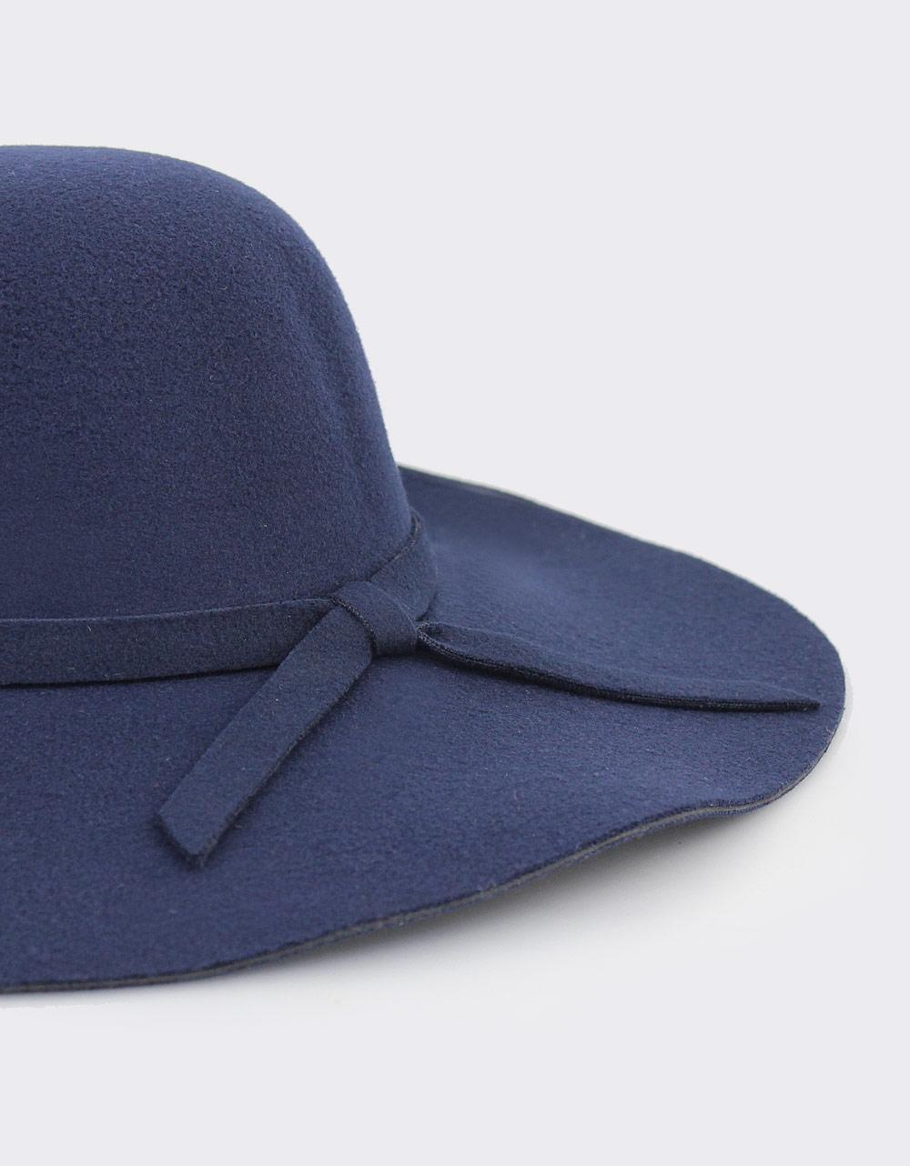 6f67c600ac Εικόνα από Γυναικεία καπέλα από τσόχα με φιόγκο Μπλε