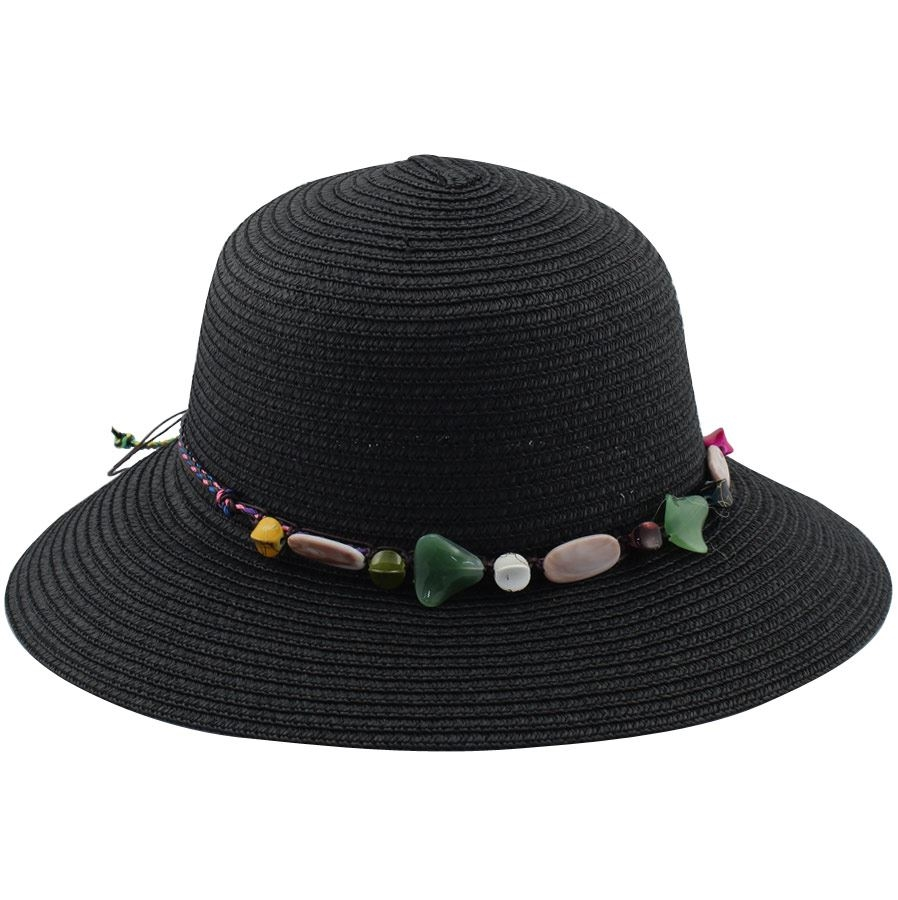 Εικόνα από Γυναικεία καπέλα ψάθινα με διακοσμητικό Μαύρο