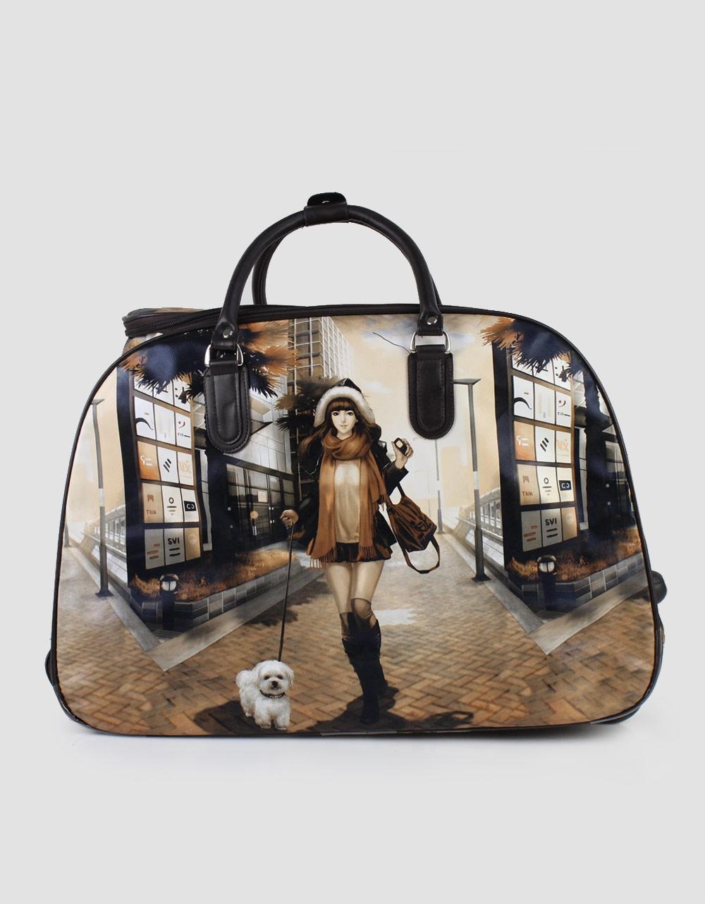 Εικόνα από Τσάντες ταξιδίου με print κοπέλα με σκυλάκι Καφέ