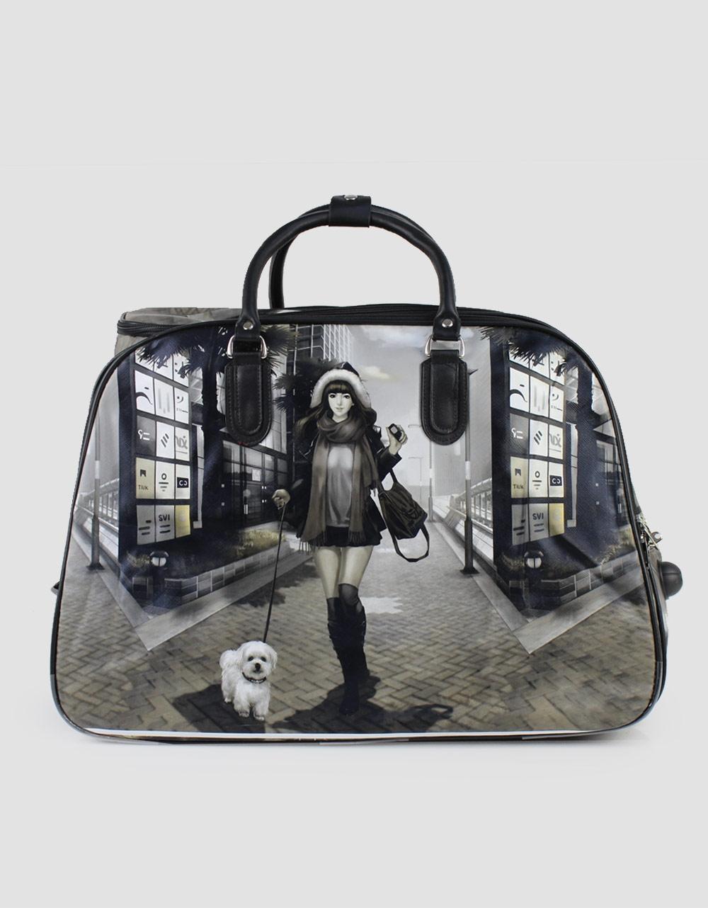 Εικόνα από Τσάντες ταξιδίου με print κοπέλα με σκυλάκι Μαύρο