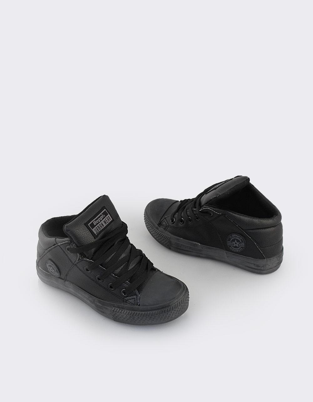 Εικόνα από Παιδικά sneakers μονόχρωμα με πλαϊνό τύπωμα Μαύρο