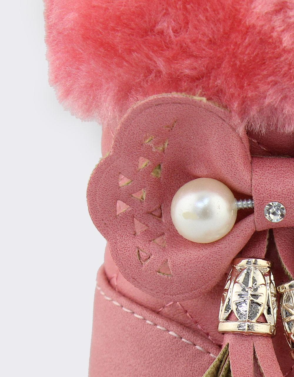 Εικόνα από Παιδικά μποτάκια καπιτονέ με διακοσμητικά Ροζ