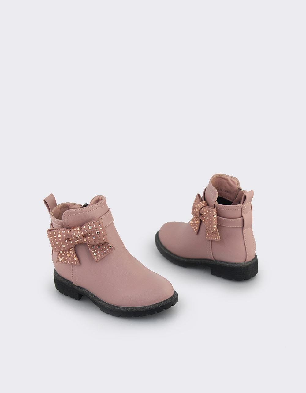 Εικόνα από Παιδικά μποτάκια με διακοσμητικό φιόγκο με strass Ροζ