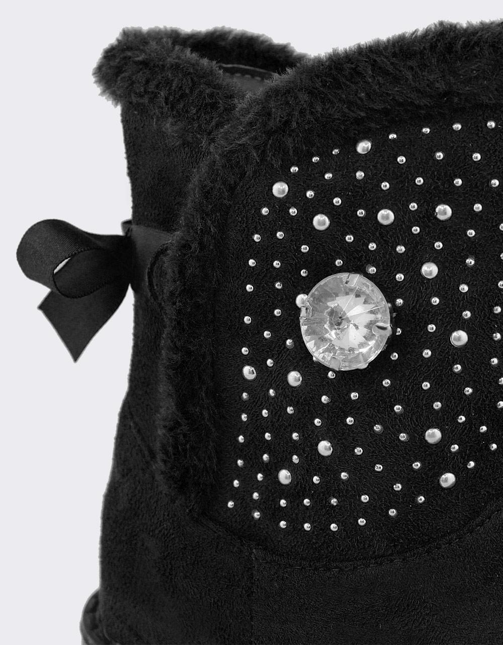 Εικόνα από Παιδικά μποτάκια με διακοσμητικά strass και γουνάκι Μαύρο