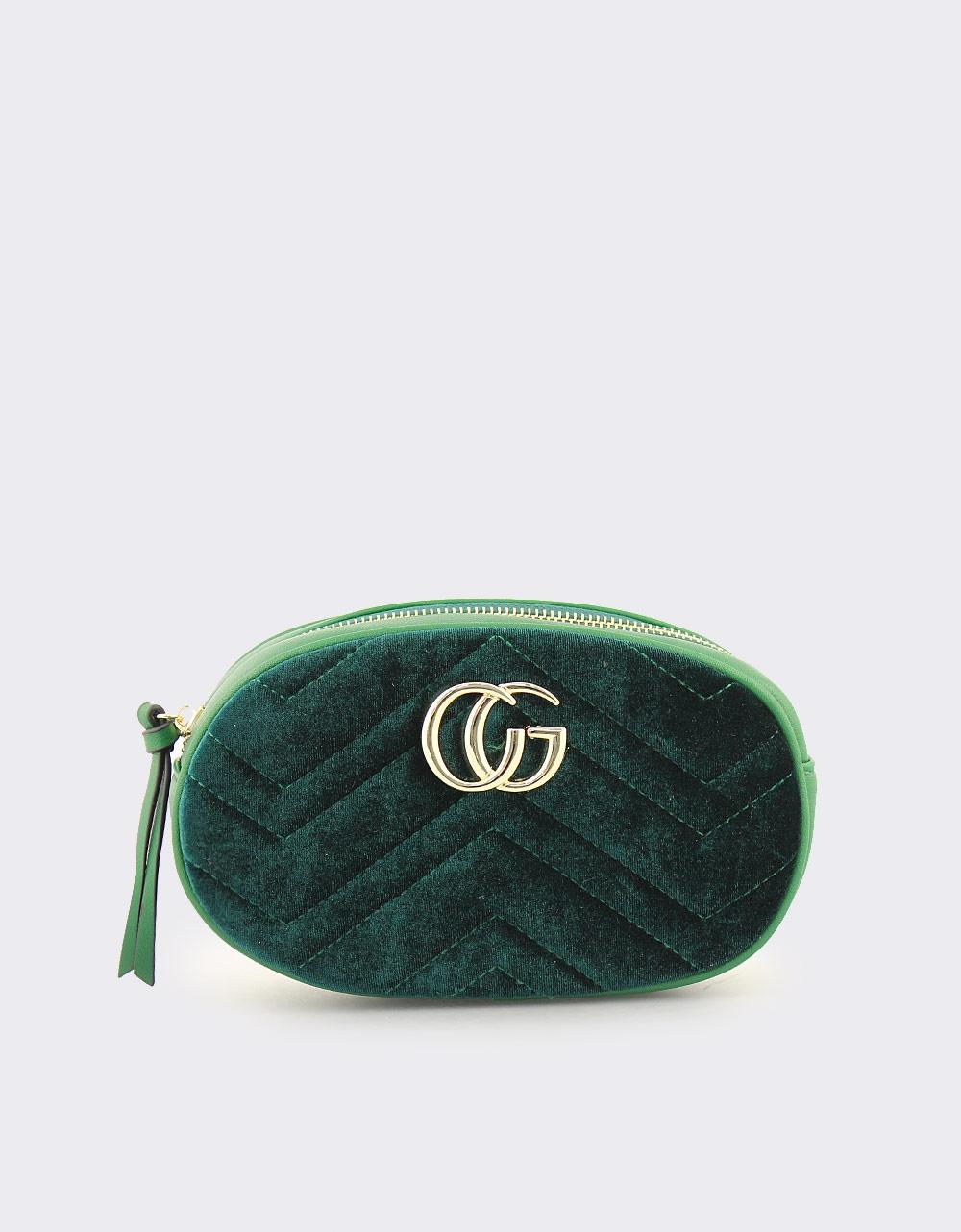 Εικόνα από Γυναικείες τσάντες ώμου και μέσης με βελούδινα σχέδια Πράσινο