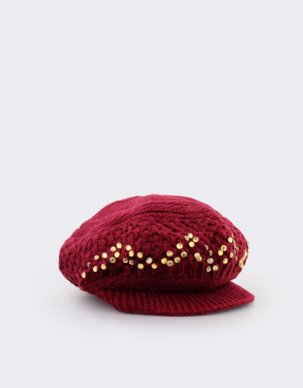 Εικόνα από Γυναικεία καπέλα πλεκτά με stubs Μπορντώ