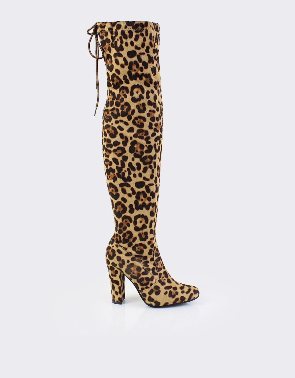 Εικόνα από Γυναικείες μπότες με κορδόνι Λεοπάρ