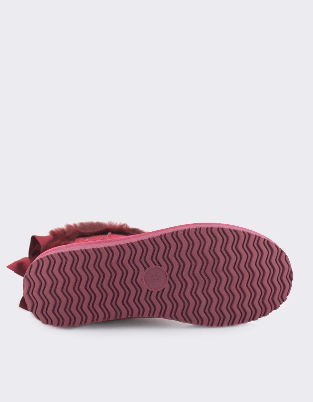 Εικόνα από Γυναικεία μποτάκια με φιόγκο στο πίσω μέρος Μπορντώ