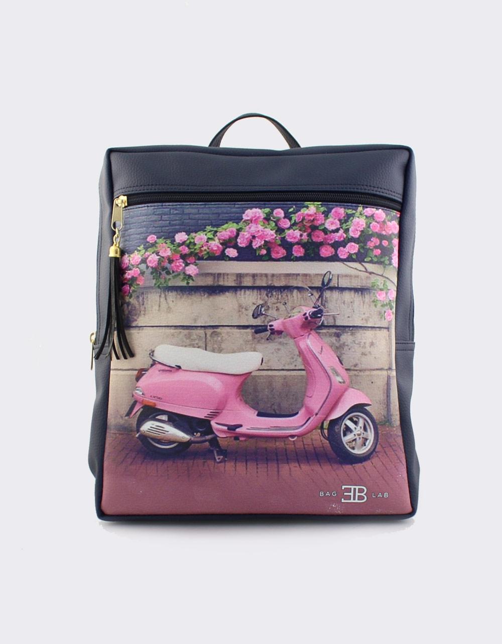Εικόνα από Γυναικεία σακίδια πλάτης με print pink vespa Navy