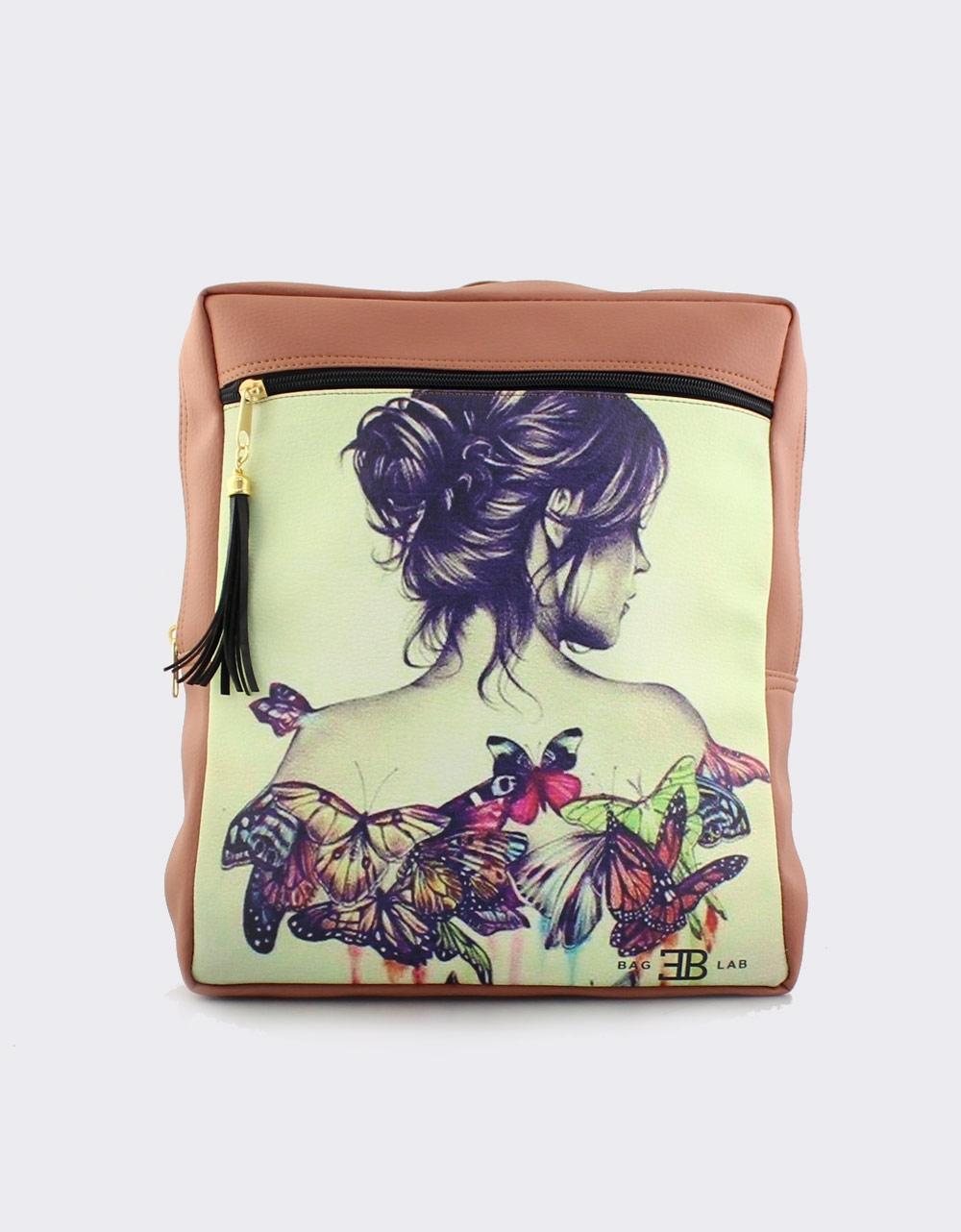 Εικόνα από Γυναικεία σακίδια πλάτης με γυναίκα με πεταλούδες Ταμπά