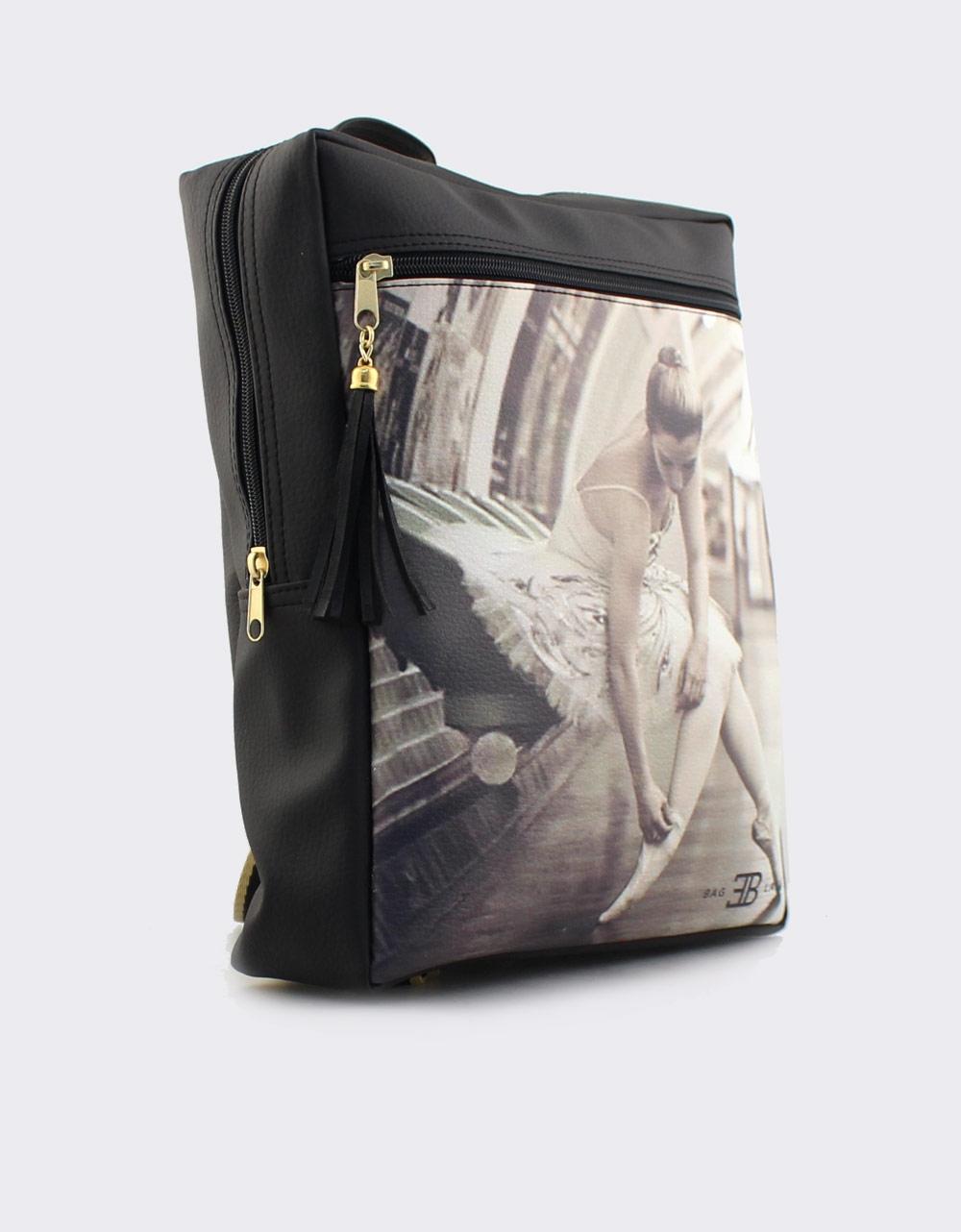 Εικόνα από Γυναικεία σακίδια πλάτης με print μπαλαρίνα Μαύρο