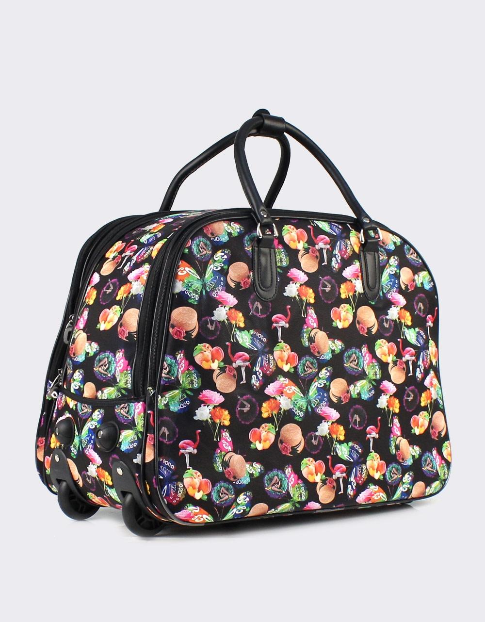 Εικόνα από Γυναικείες τσάντες ταξιδίου με πολύχρωμα σχέδια Μαύρο